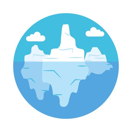 icebergs landscape over white background, flat style, vector illustration Illustration