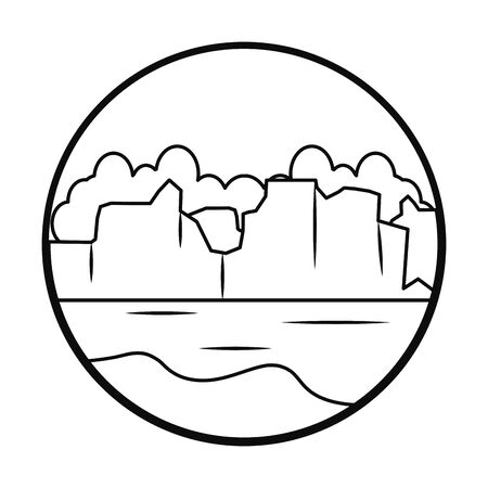 icebergs landscape icon over white background, line style, vector illustration Illustration