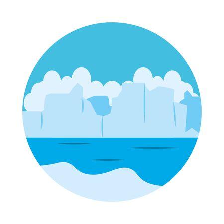 icebergs landscape icon over white background, flat style, vector illustration Illustration
