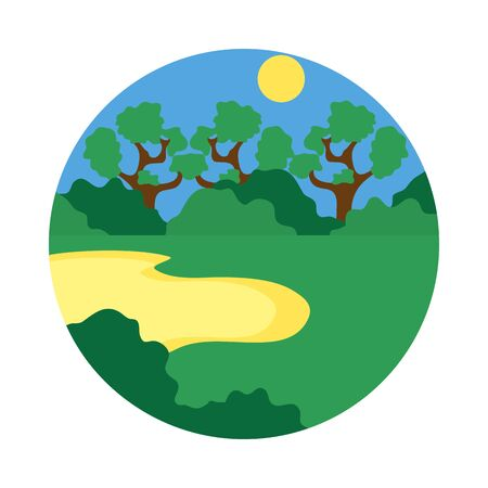mangrove landscape icon over white background, flat style, vector illustration