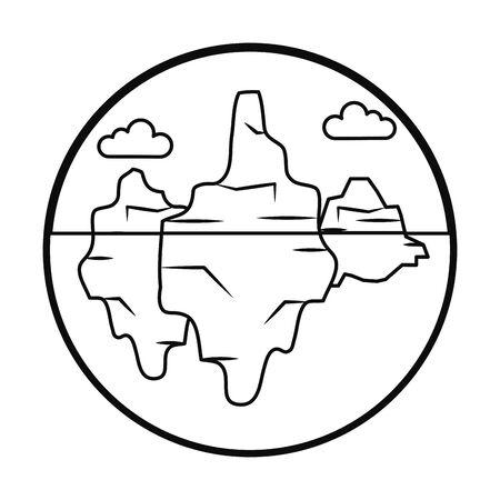 icebergs landscape over white background, line style, vector illustration