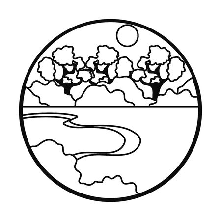 mangrove landscape icon over white background, line style, vector illustration
