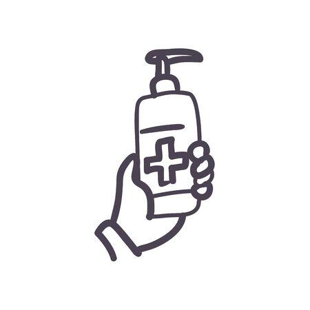 Cross inside soap dispenser bottle line style icon design of Medical care and covid 19 virus theme Vector illustration