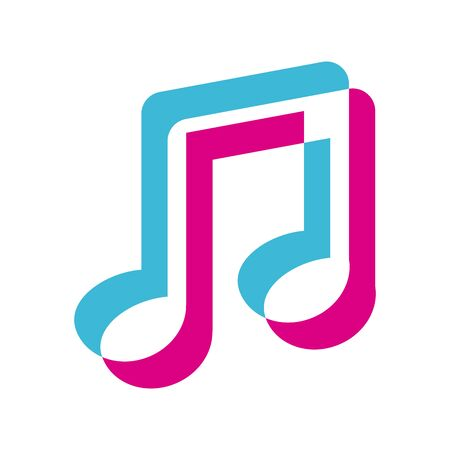 Note lighten style icon design, Music sound melody song musical art and composition theme Vector illustration