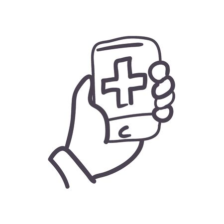 Hand holding smartphone with cross line style icon design of Medical care and covid 19 virus theme Vector illustration