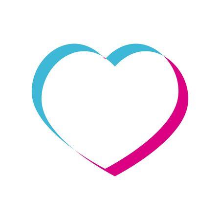 Conception d'icône de style de coeur allégé de la passion de l'amour et du thème romantique Illustration vectorielle