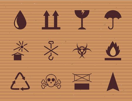 line style icon set design, Cardboard packaging delivery logistics transportation and shipping theme Vector illustration