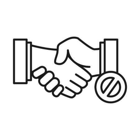 Not handshake icon and forbidden sign over white background, line style, vector illustration