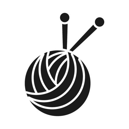 ball of yarn icon over white background, silhouette style, vector illustration