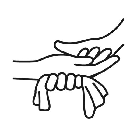 hands drying off with a paper towel over white background, line style, vector illustration