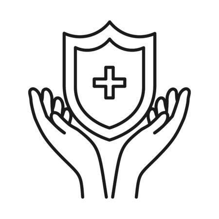 hands and shield with medical cross icon over white background, line style, vector illustration