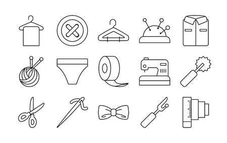 roll tape and sewing icon set over white background, line style, vector illustration