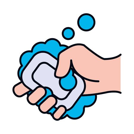 hand holding a soap bar with soapy water over white background, line and fill style, vector illustration
