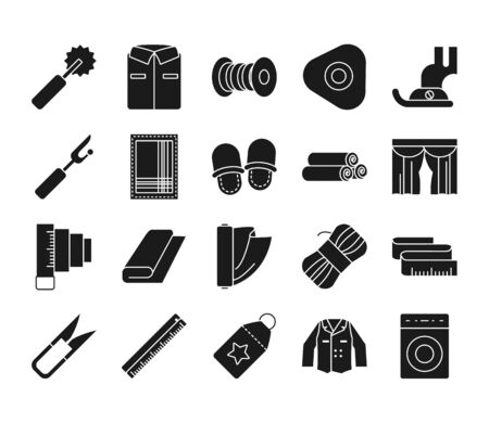 ruler and sewing icon set over white background, silhouette style, vector illustration