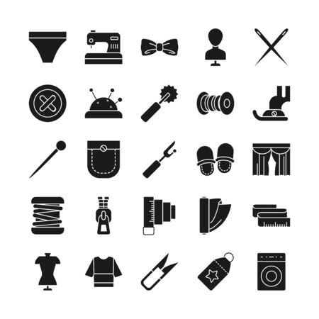 needdles and sewing icon set over white background, silhouette style, vector illustration Ilustrace