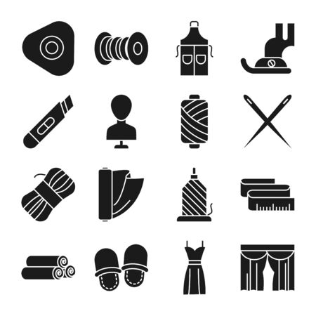 sewing apron and sewing icon set over white background, silhouette style, vector illustration