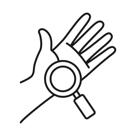 hand and magnifying glass icon over white background, line style, vector illustration