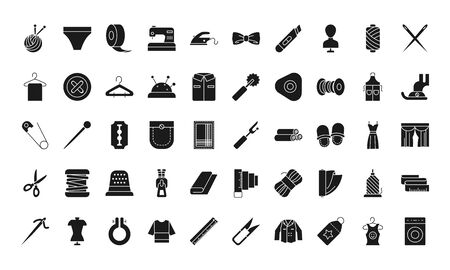 sewing icon set over white background, silhouette style, vector illustration Ilustrace