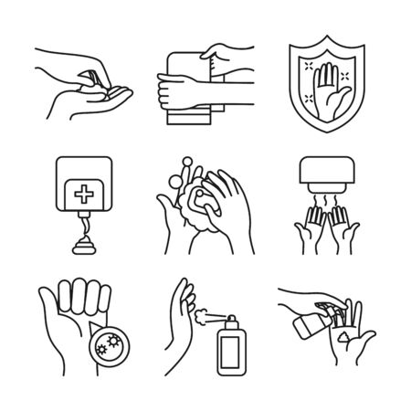 shield and handwashing icon set over white background, line style, vector illustration