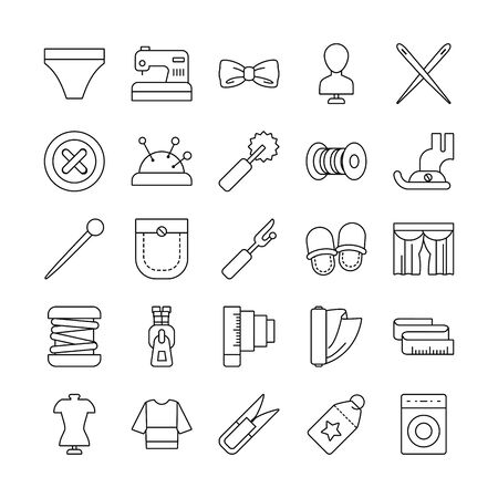 needdles and sewing icon set over white background, line style, vector illustration