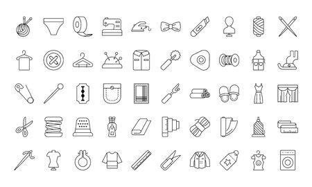 sewing icon set over white background, line style, vector illustration Ilustrace