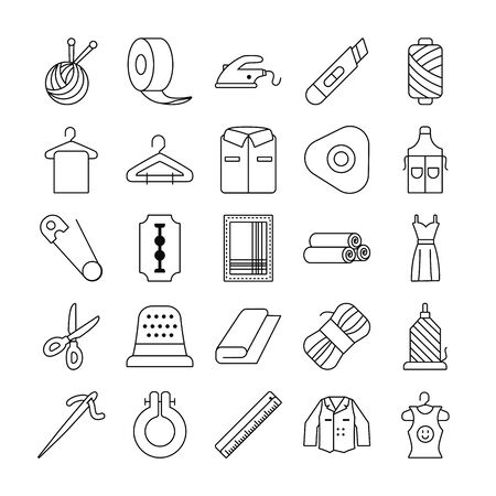 clothes hanger and sewing icon set over white background, line style, vector illustration