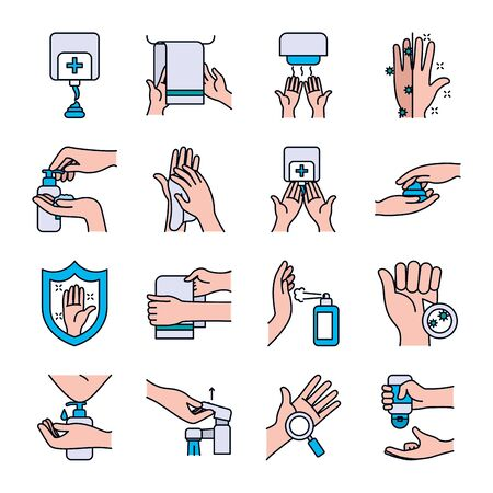 towels and handwashing icon set over white background, line and fill style, vector illustration