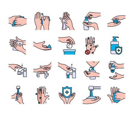 faucet and handwashing icon set over white background, line and fill style, vector illustration