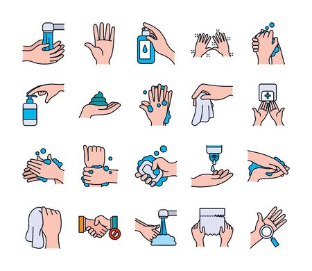 water faucet and handswashing icon set over white background, line and fill style, vector illustration
