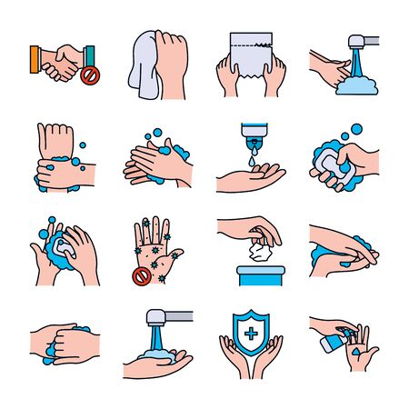 soapy water and handswashing icon set over white background, line and fill style, vector illustration