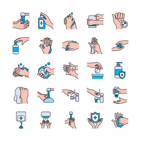 antibacterial dispenser and handwashing icon set over white background, line and fill style, vector illustration
