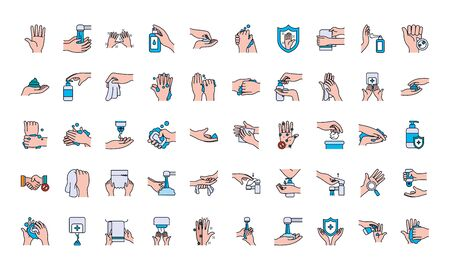 handswashing icon set over white background, line and fill style, vector illustration