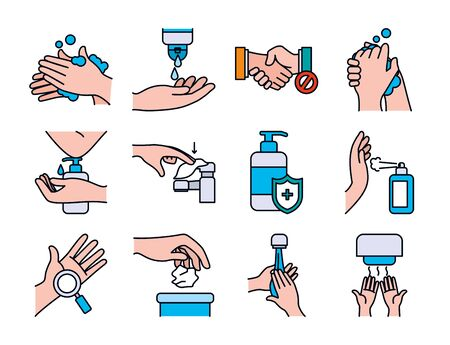 Hands and handswashing icon set over white background, line and fill style, vector illustration