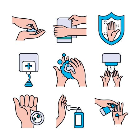 shield and handwashing icon set over white background, line and fill style, vector illustration
