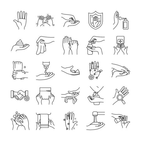 paper tissues and handswashing icon set over white background, line style, vector illustration