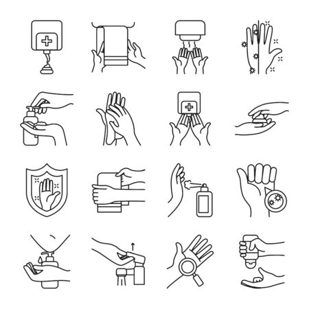 towels and handwashing icon set over white background, line style, vector illustration