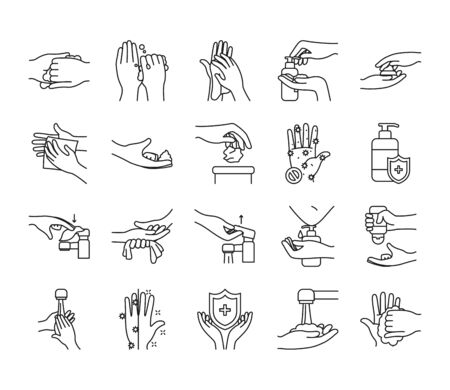 faucet and handwashing icon set over white background, line style, vector illustration