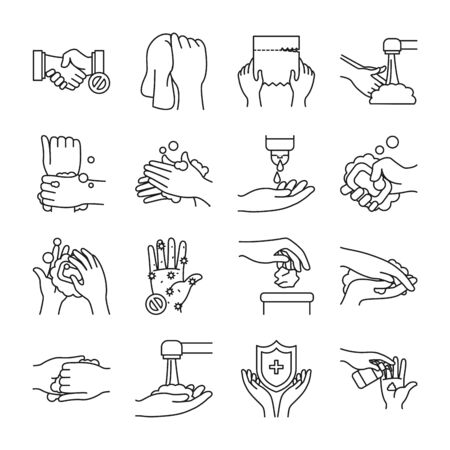 soapy water and handswashing icon set over white background, line style, vector illustration