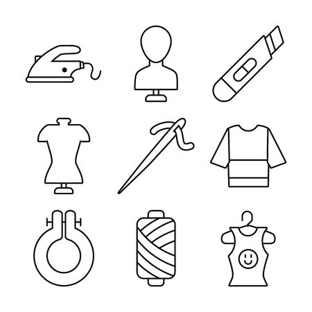 needle and sewing icon set over white background, line style, vector illustration Reklamní fotografie