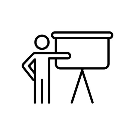 pictogram man and presentation board icon over white background, line style, vector illustration