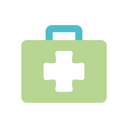 first aid box icon over white background, flat style, vector illustration