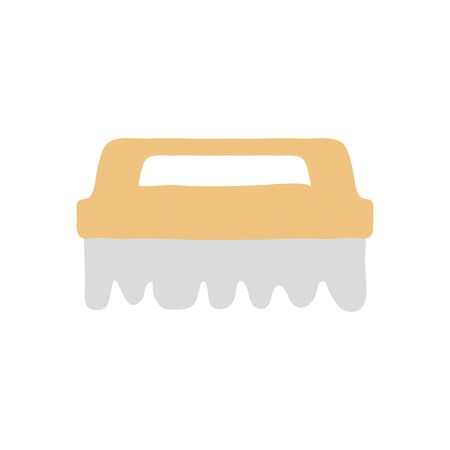 cleaning brush icon over white background, flat style, vector illustration