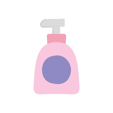 hands soap bottle icon over white background, flat style, vector illustration Ilustrace