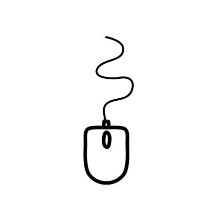 mouse device icon over white background, line style, vector illustration