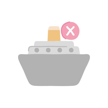 forbidden to be transported by ship symbol, car with ship icon over white background, flat style, vector illustration