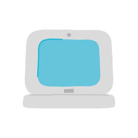 laptop computer icon over white background, flat style, vector illustration