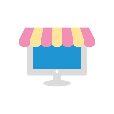 computer with store tent over white background, flat style, vector illustration Ilustrace