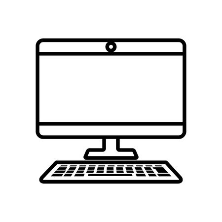 computer monitor and keyboard over white background, line style, vector illustration