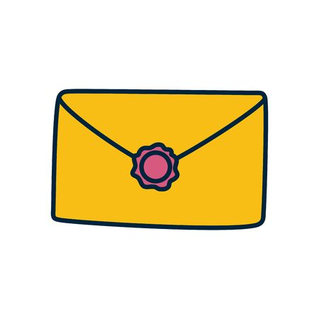 envelope with seal icon over white background, line and fill style, vector illustration Ilustrace