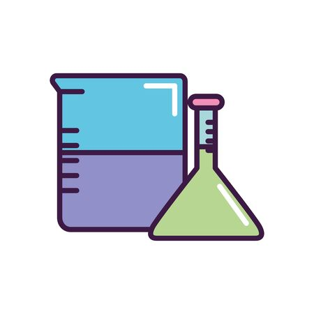 beaker and chemical flask icon over white background, line color style, vector illustration Ilustrace